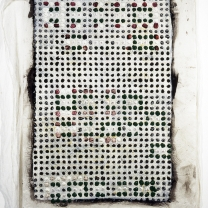 """Memory Activation Synthesis: Charles, 1999-2000, acrylic, modeling paste, emulsion transfer on asian paper mounted on muslin, 70"""" x 50"""""""