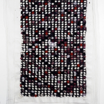 """Memory Activation Synthesis: Emma, 1999-2000, acrylic, modeling paste, emulsion transfer on asian paper mounted on muslin, 70"""" x 50"""""""