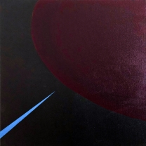 Arc 6  Dark Red Violet and Black with a Blue Triangle, 2020, Acrylic on Canvas, 10