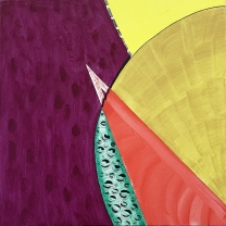 Arc 9  Violet, Yellow. Green with Red Triangle, 2020, Acrylic on Canvas, 10