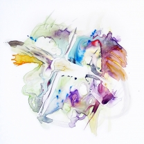 Barbara Bachner, Creation: Birds and Fishes, Watercolor on Yupo 20x20