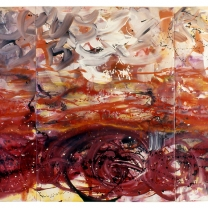 Red Sea, 1990, Acrylic on Synthetic Paper, 60x102 (Triptych)